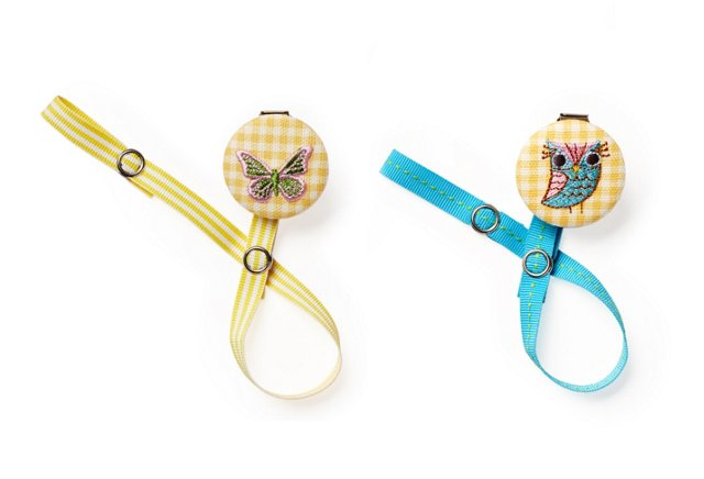 S/2 Pacifier Clips, Owl & Butterfly