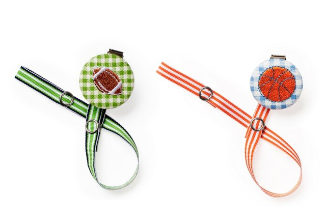 S/2 Pacifier Clips, Sports