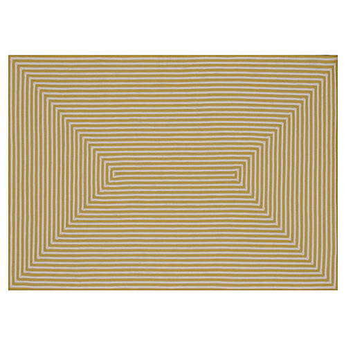 Leah Outdoor Rug, Yellow/Ivory