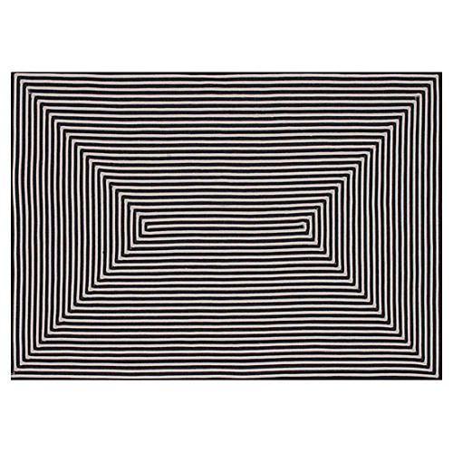 Leah Outdoor Rug, Black/Ivory