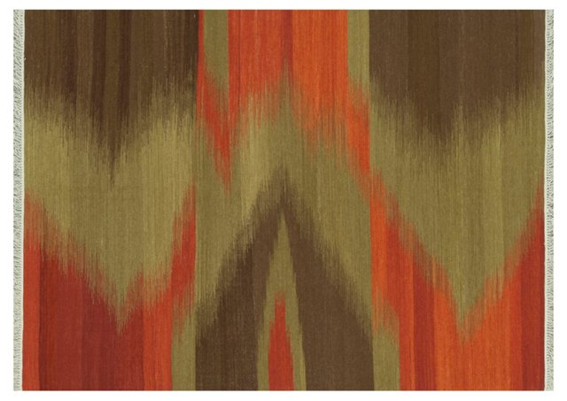 Bea Flat-Weave Rug, Moss/Rust