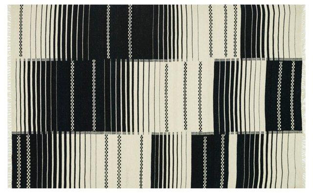 Ruby Flat-Weave Rug, Black