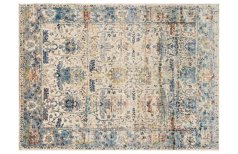 Hester Rug, Sand/Light Blue