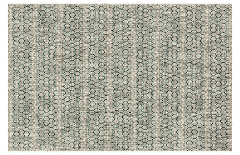 Stewart Outdoor Rug, Gray/Teal