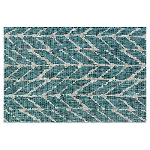 Colby Outdoor Rug, Teal/Gray