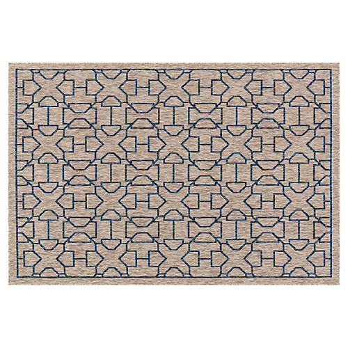 Ryan Outdoor Rug, Gray/Blue