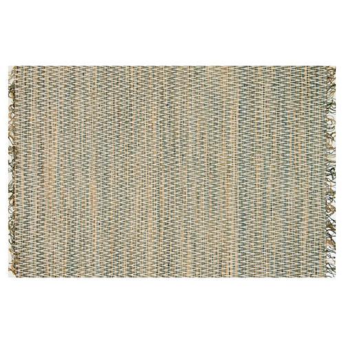 Stitched Flat Jute-Blend Rug, Fog