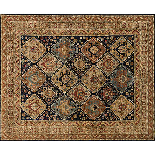 Paola Hand-Knotted Rug, Navy/Tan