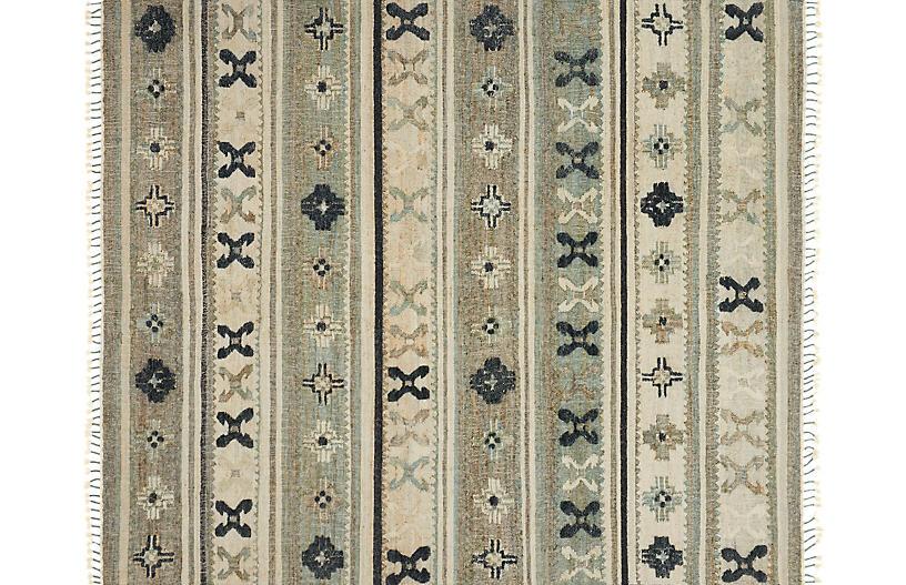 Amos Flat-Weave Rug, Aqua