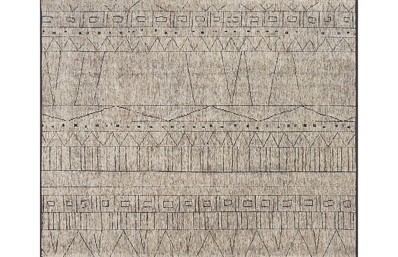 Potero Hand-Knotted Rug, Natural/Ash