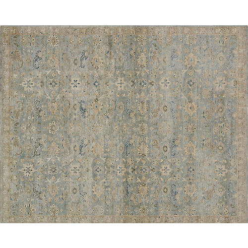 McKenzie Hand-Knotted Rug, Natural/Blue