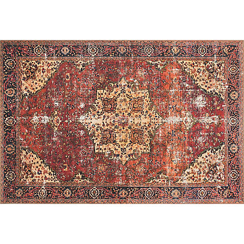 Sawyer Rug, Red/Navy