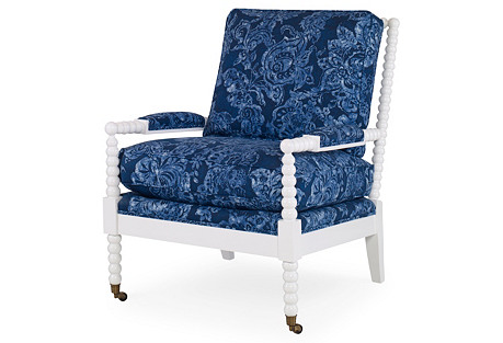 Beachwood Spindle Chair, Blue/White