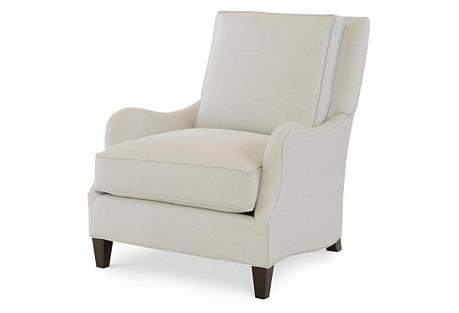Parker Club Chair, White Linen*