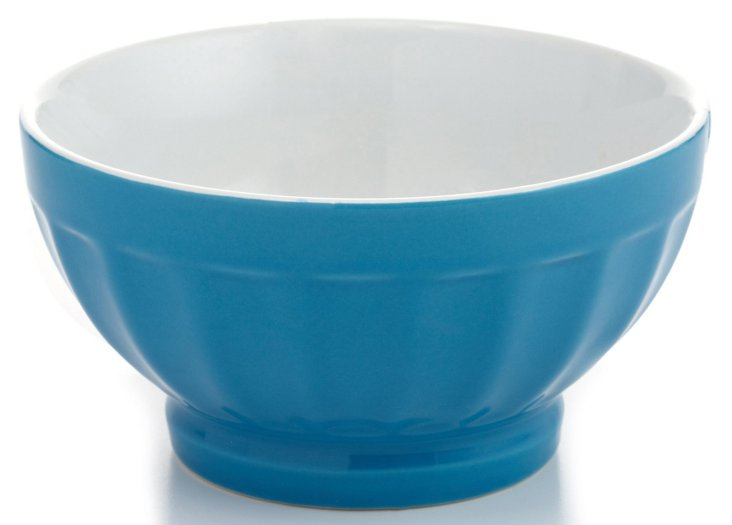 S/4 Large Fluted Bowls, Teal