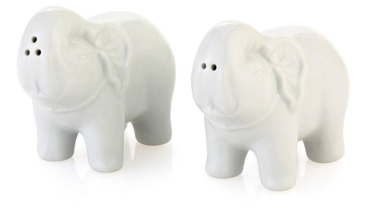 Pair of Porcelain Elephant S&P Shakers