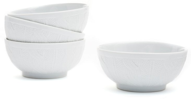 S/4 Sweater Bowls, White