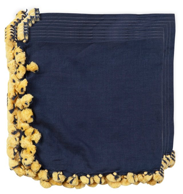 Navy/Yellow Linen Napkins, Set of 20