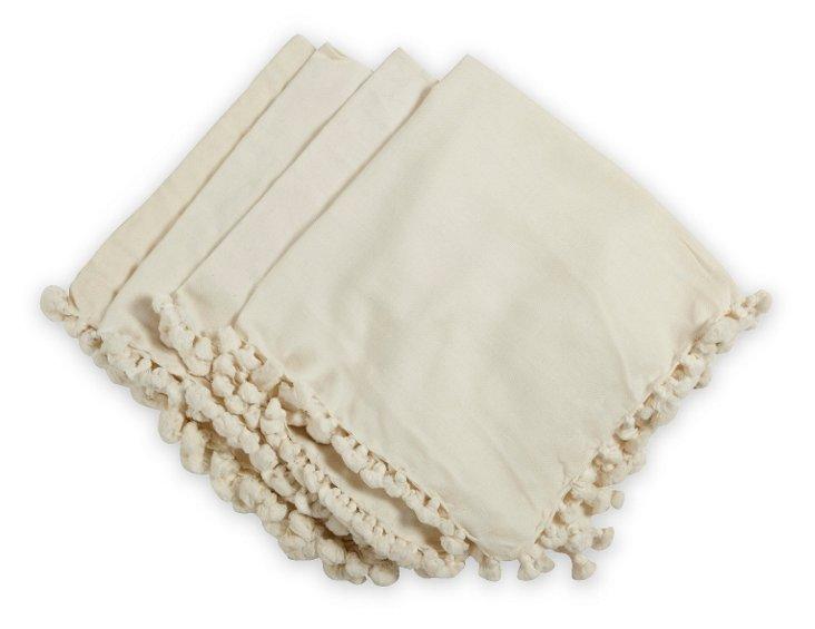 Cream Linen Tasseled Napkins, Set of 4