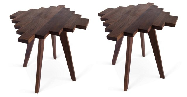 Stepped Pyramid Side Tables, Pair
