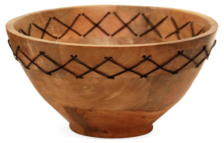 "9"" Bruges Wood and Wire Bowl"