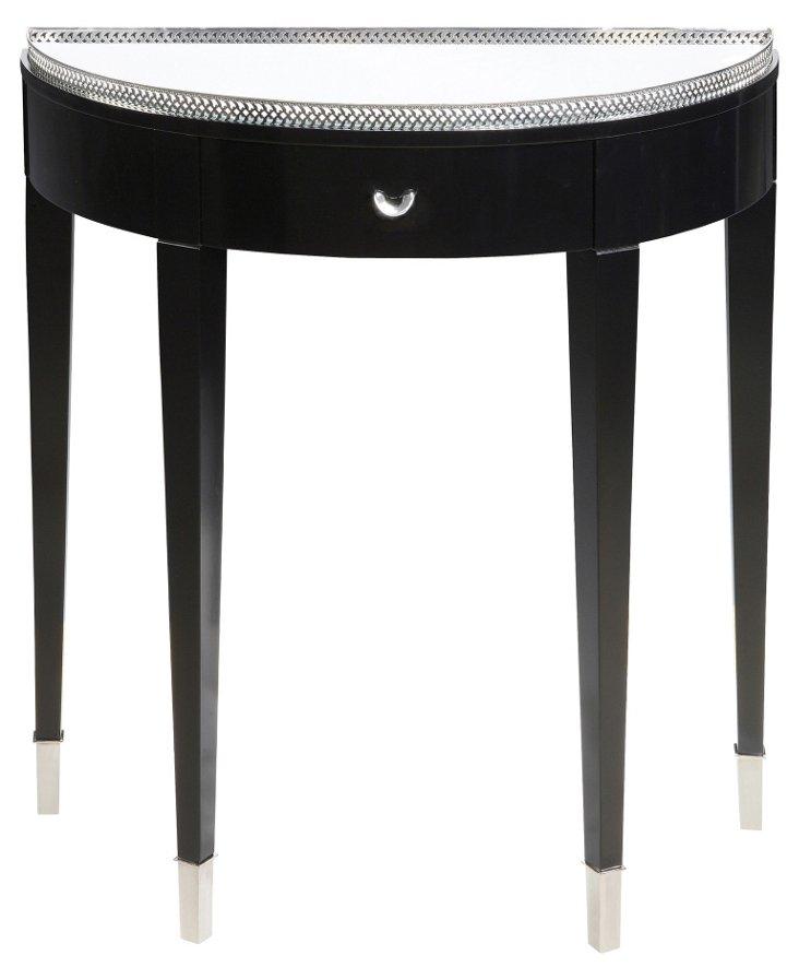 Aurora Glass Demilune Table, Black