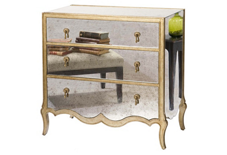 Eckart Mirrored 3-Drawer Chest, Brass