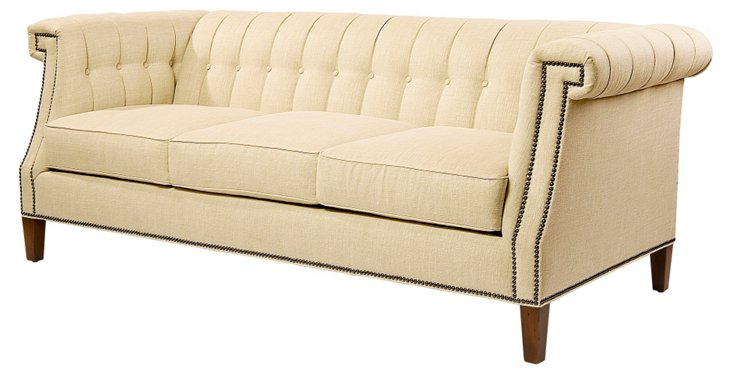 "Ali 82"" Tufted Sofa, Beige"