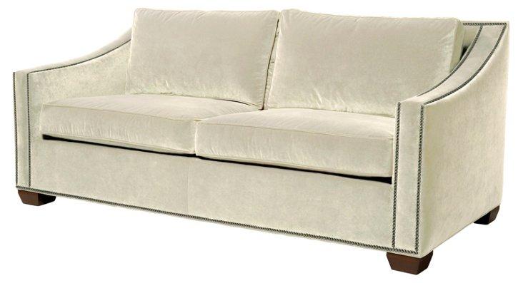 """Darragh 77"""" Velvet Sofa, Eggshell"""