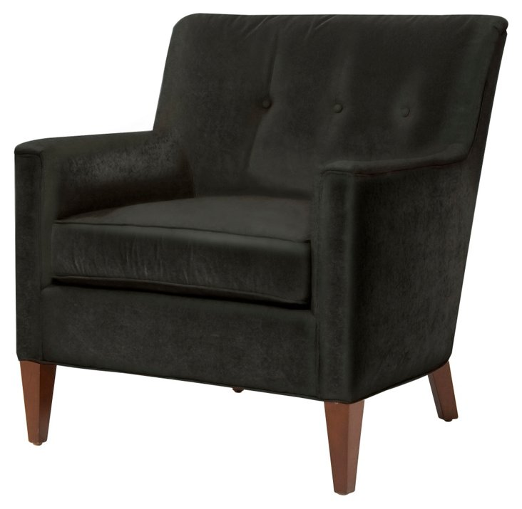 Lillian Button-Tufted Chair, Wenge
