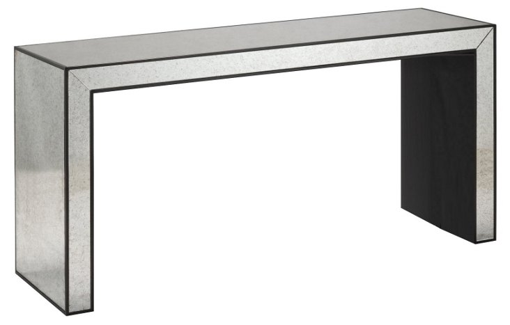 "Sloane 60"" Mirrored Console, Ebony"