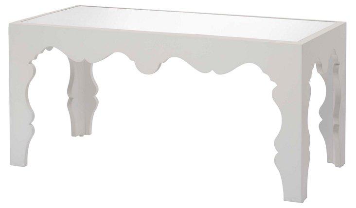"""Storey 38"""" Cocktail Table, White/Mirror"""