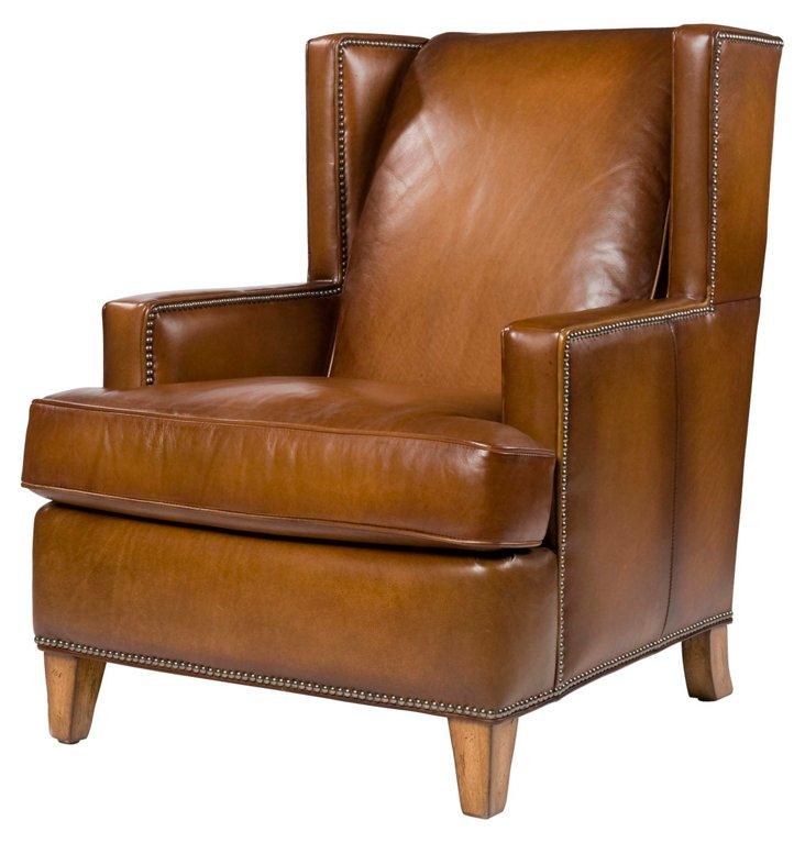 Bradley Leather Wingback Chair, Caramel