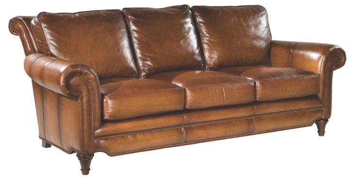 "Julian 86"" Leather Sofa, Caramel"