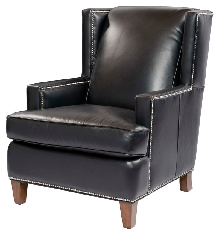 Bradley Leather Wing Chair, Black