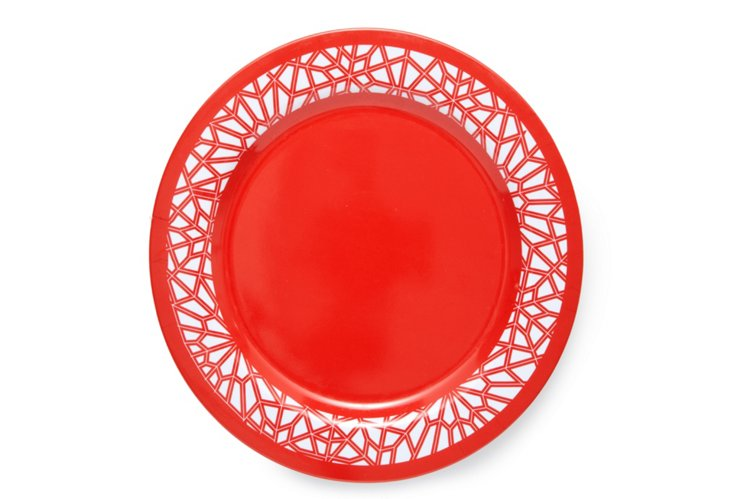 "S/4 Tangiers Melamine Plates, 12"" Sunset"
