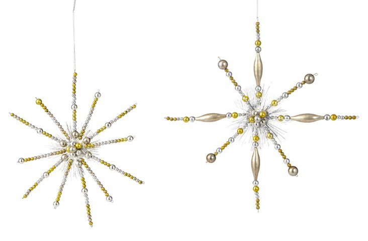 S/2 Glitter Snowflakes, Gold/Silver
