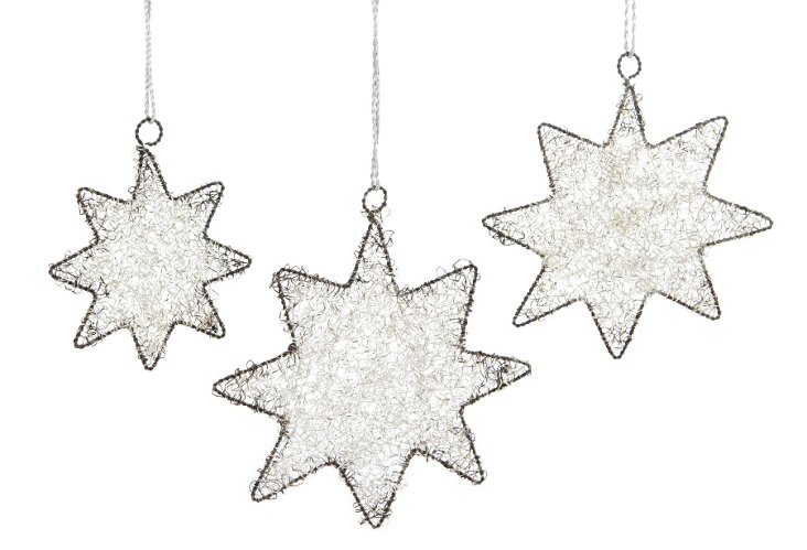 S/3 Tinsel Star Ornaments