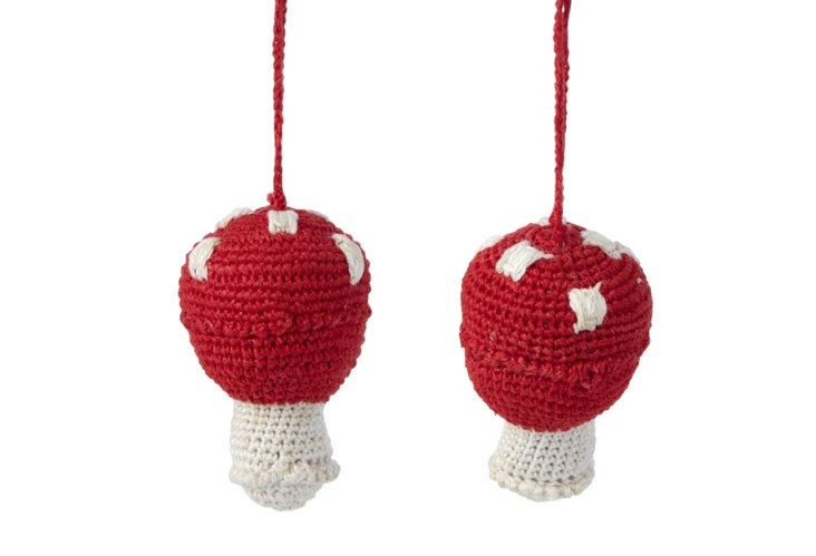 S/2 Crocheted Mushroom Ornaments