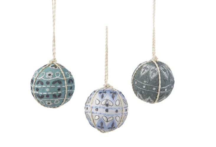 S/3 Suzani Ornaments, Blue