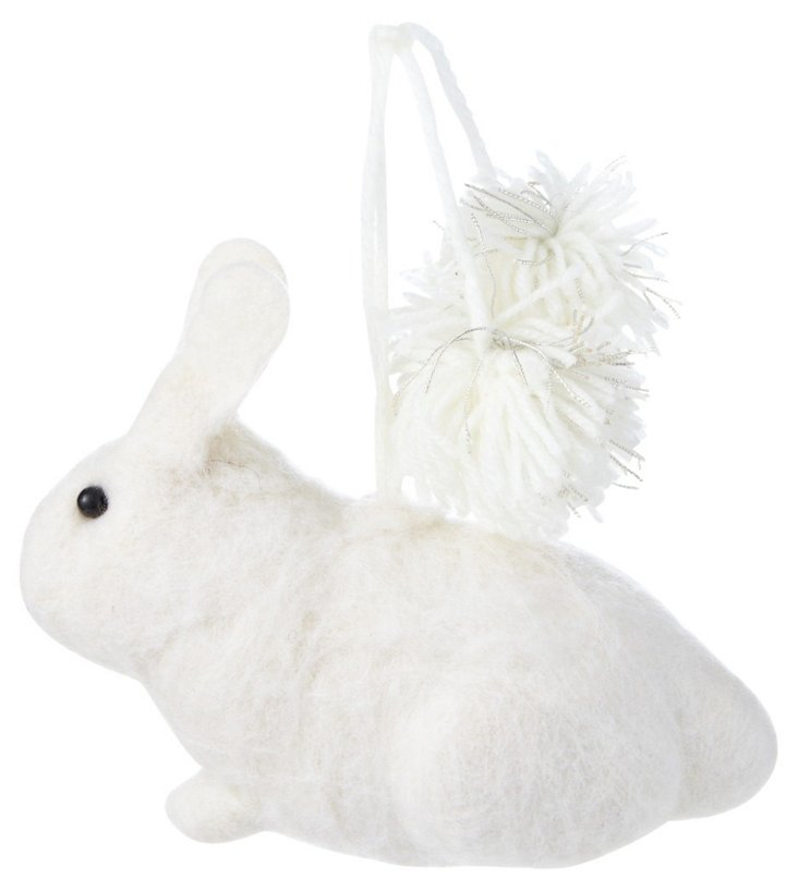 Merino Wool Rabbit Ornament, White