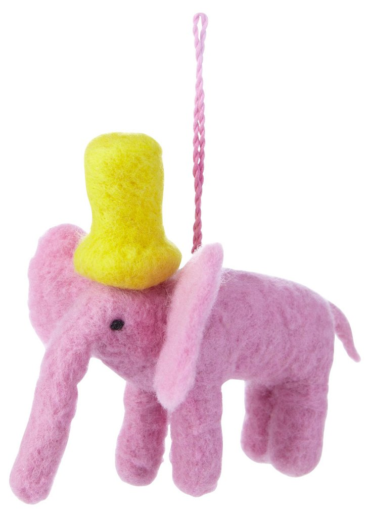 Elephant Ornament, Pink
