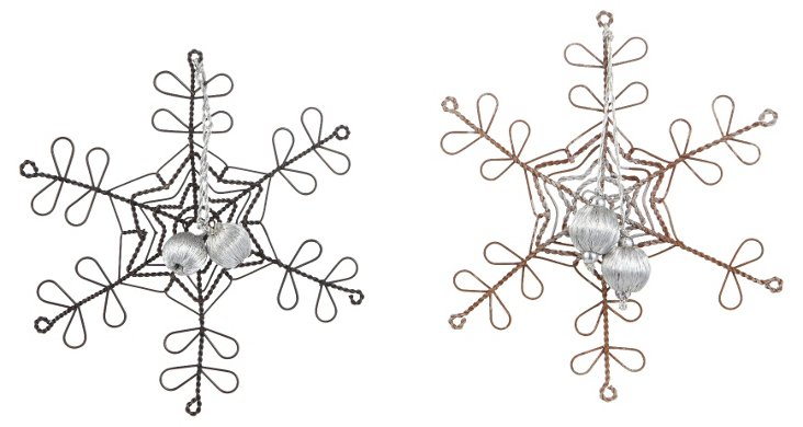 Wire Snowflake Ornaments, Asst. of 2