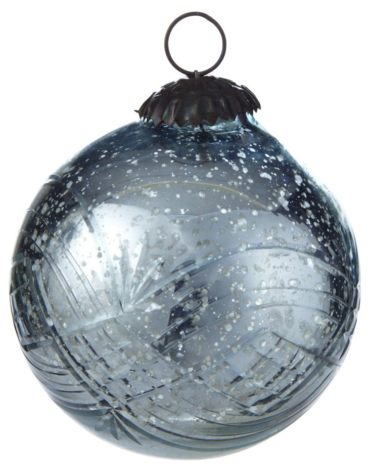 Etched Bauble Ornament, Gunmetal