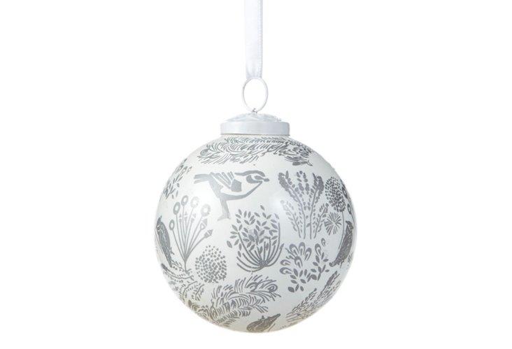 Ball Ornament, White/Silver