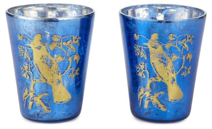 S/2 Cedar Bird Votives, Gold