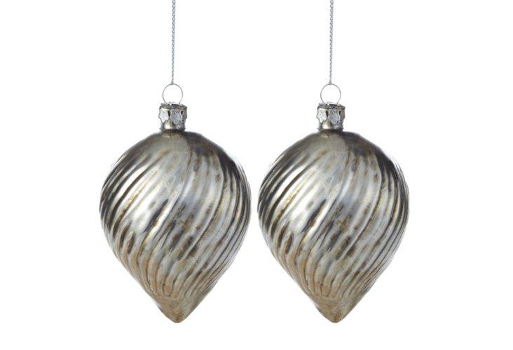 S/2 Swirled Cone Ornaments, Silver