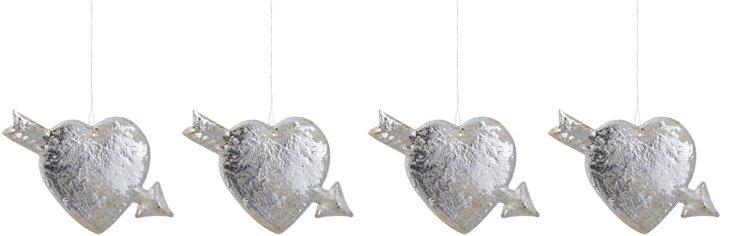 S/4 Dresden Heart Ornaments, Silver