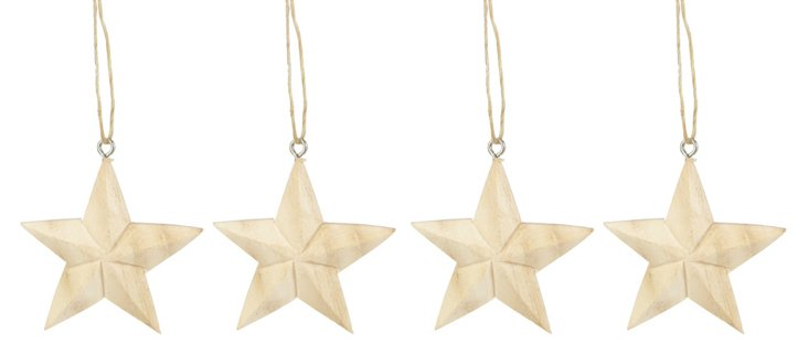 S/4 Mini Carved Star Ornaments
