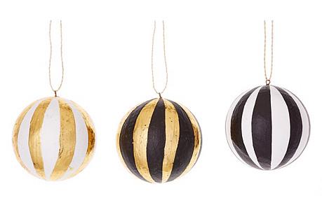 S/3 Tonal Stripe Ball Ornaments, Black
